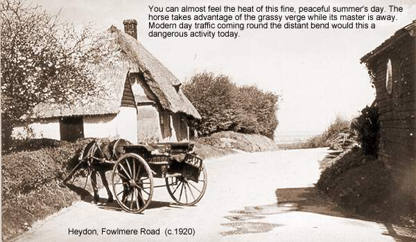 Heydon, Fowlmere Road with horse and cart
