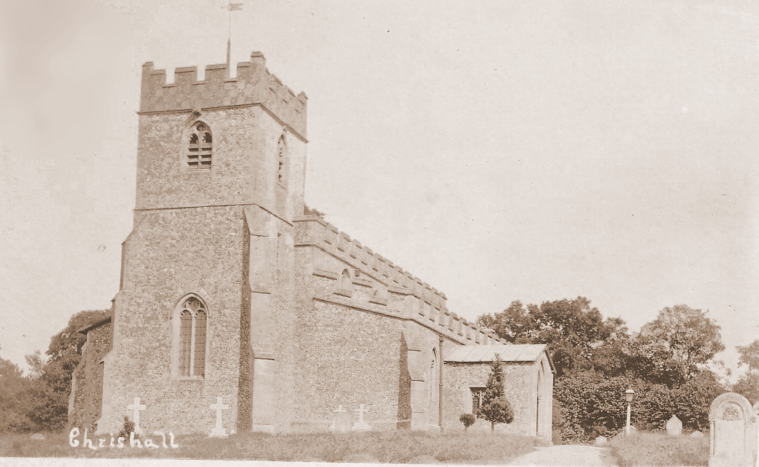Chrishall church without the spire 1914