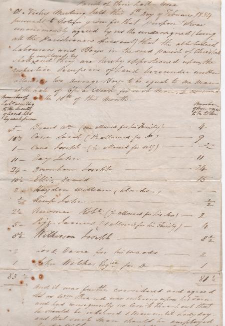Vestry meeting 1834